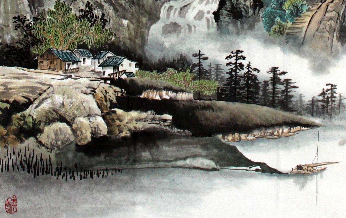 家住写意挂的山水画《适合峡岸听鸣泉》-客厅小学英语人教课本版图片