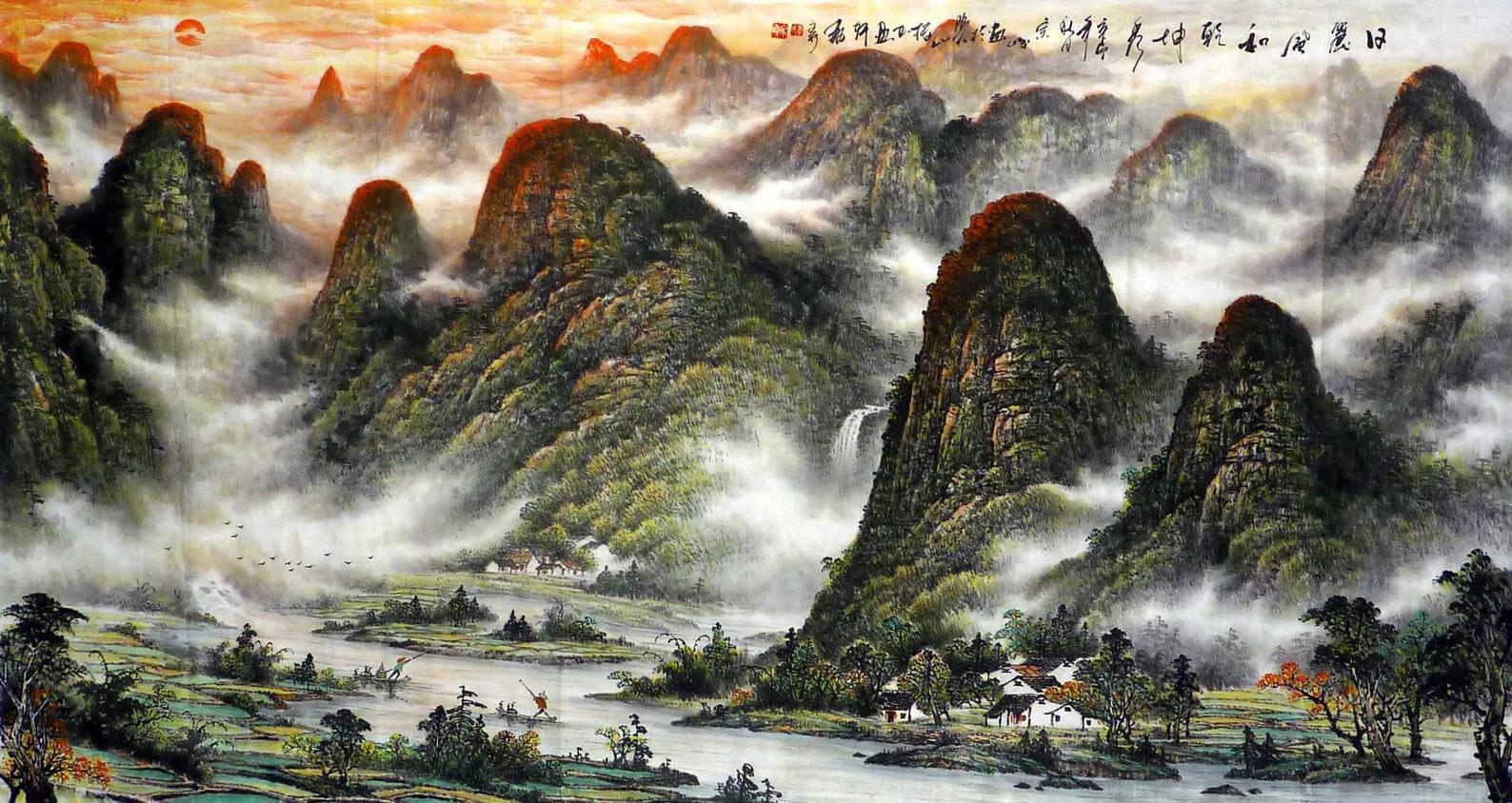刘纪三尺竹子山水画《竹林人家》图片
