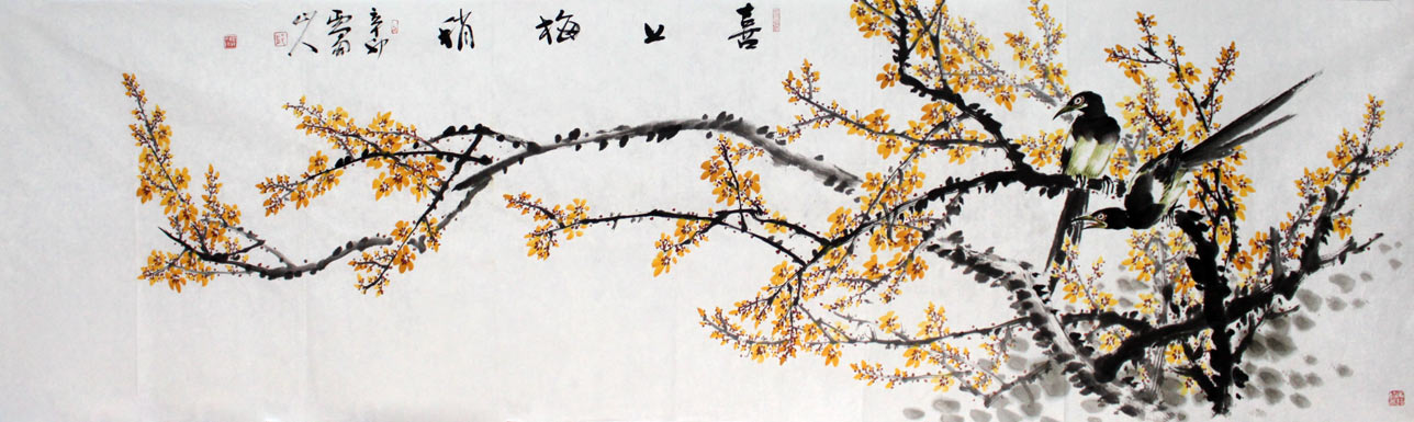 梅花手绘图片雪