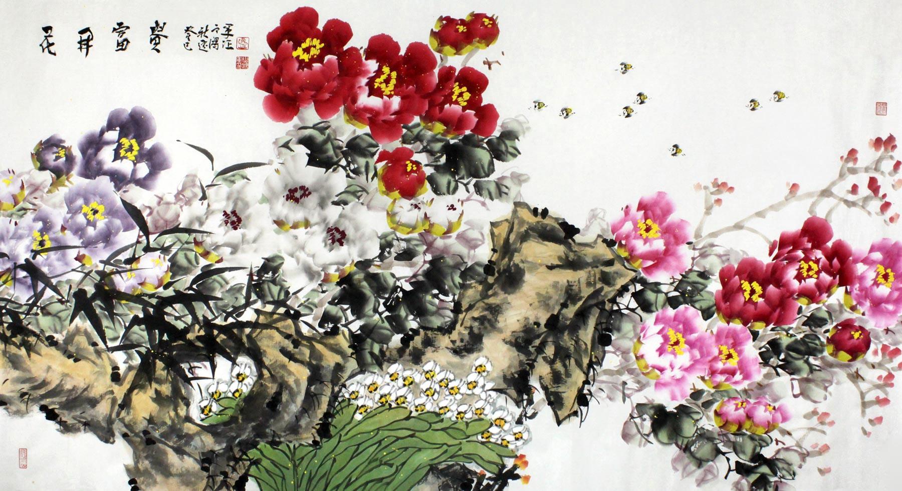 【已售】河南著名花鸟画家曲逸之六尺《花开富贵》图片
