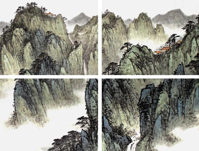 山水名家刘金河四尺《九华胜境》局部展示
