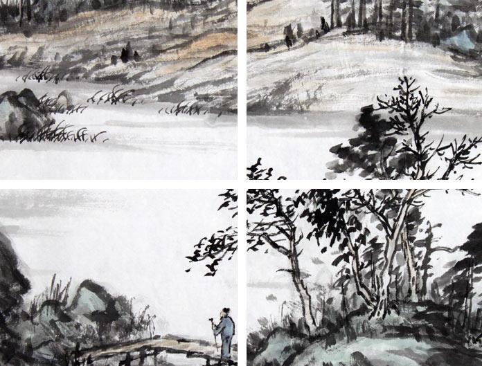 名家刘金河六尺山水国画《柴门起禅心镜里霜》局部展示