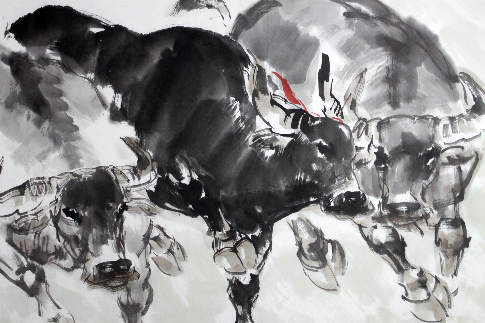 牛的象征_五牛图风水画 - 国画牛 - 99字画网