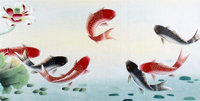 手绘荷花红鲤鱼图