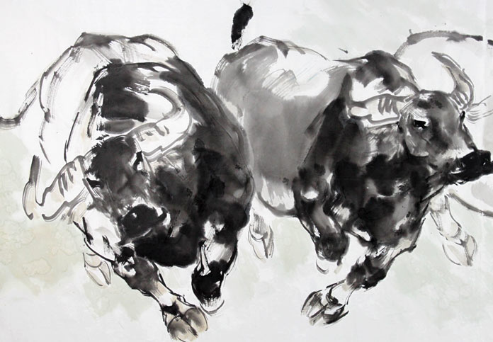 着名动物画家王向阳写意风水动物牛 - 国画牛 - 99图片