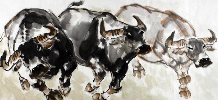 王向阳水墨风水动物画三牛图 - 国画牛 - 99字画网