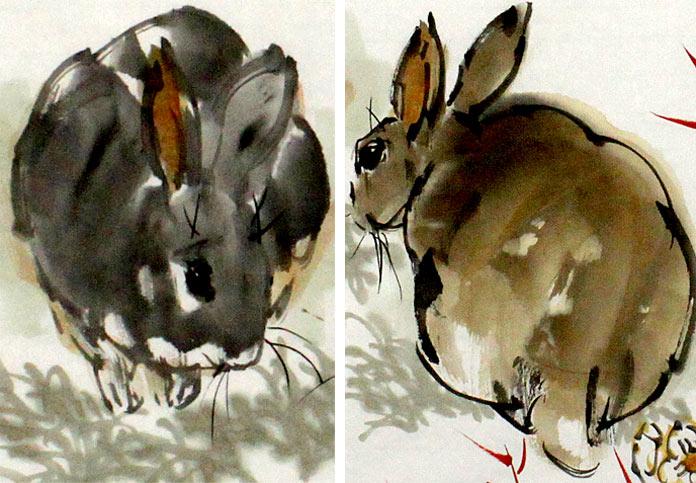 励志兔子红竹图嫦娥如可问欲乞万年丹 - 动物画 - 99