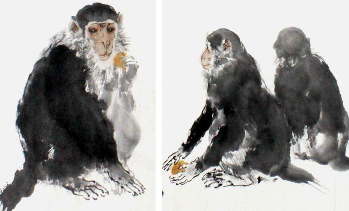 王向阳四尺动物画《猴送千重喜》(询价)