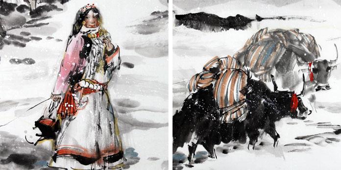 qa著名动物画家王向阳牦牛作品《千里藏骑路》