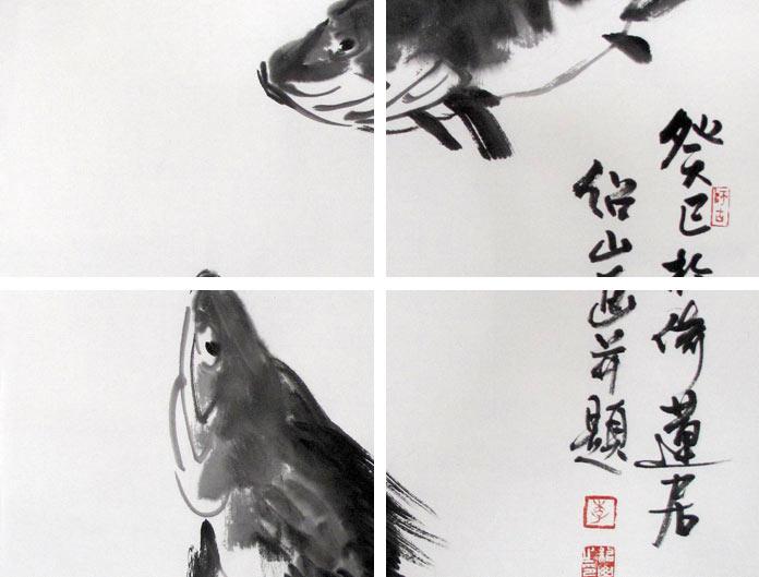 李绍山四尺三开水墨双鱼图