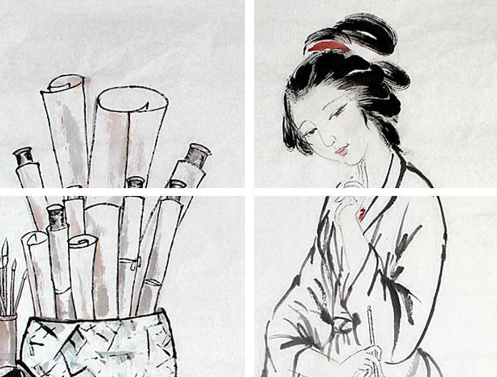 国画红楼梦人物画 - 仕女图 - 99字画网