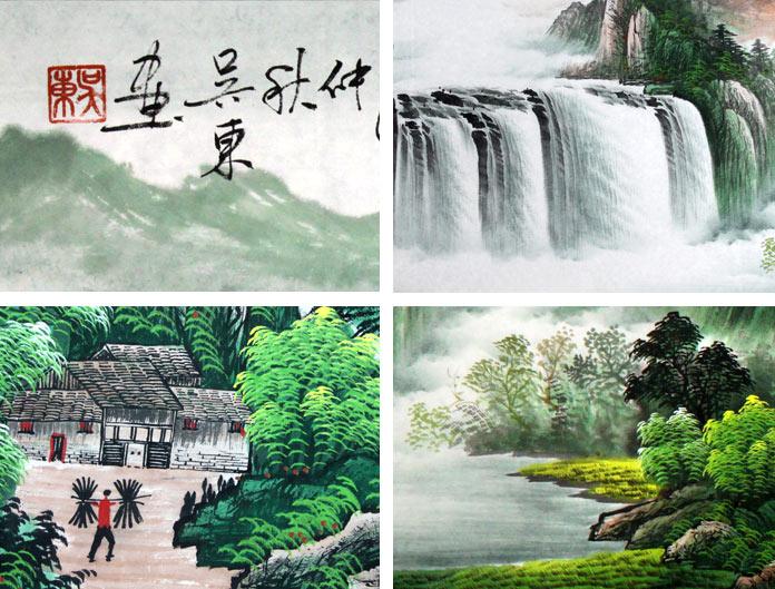 壁纸 风景 国画 旅游 瀑布 山水 桌面 696_529