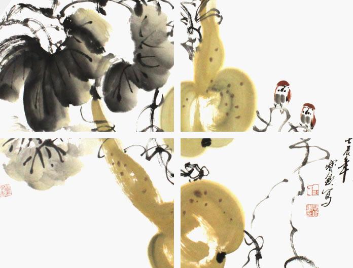 葫芦烙画虾图案大全