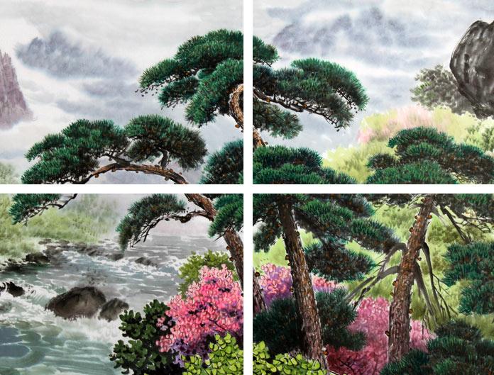 中国近现代水画家画松树