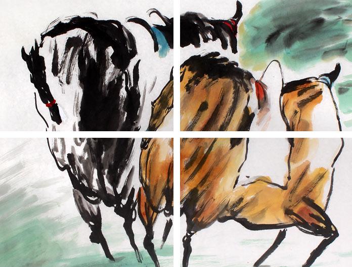 动物画 骏马图  画中两匹奔跑的骏马本着最质朴