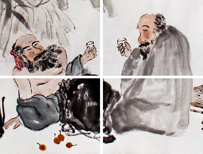 李胜春先生的这幅人物画作品《会友图》,绘芭蕉树下两位老人下完象棋
