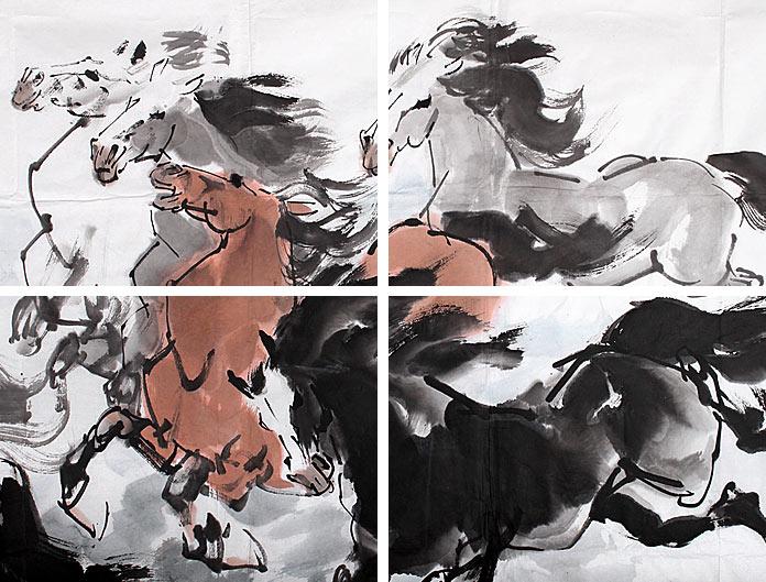 王向阳六尺八骏图《八骏呈祥》 - 动物画 - 99字画网