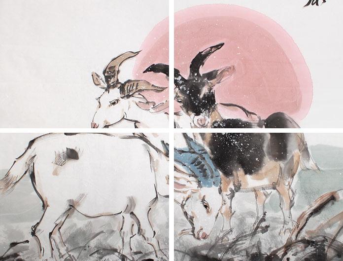 河南美协王向阳四尺国画《三阳开泰》 - 动物画 - 99