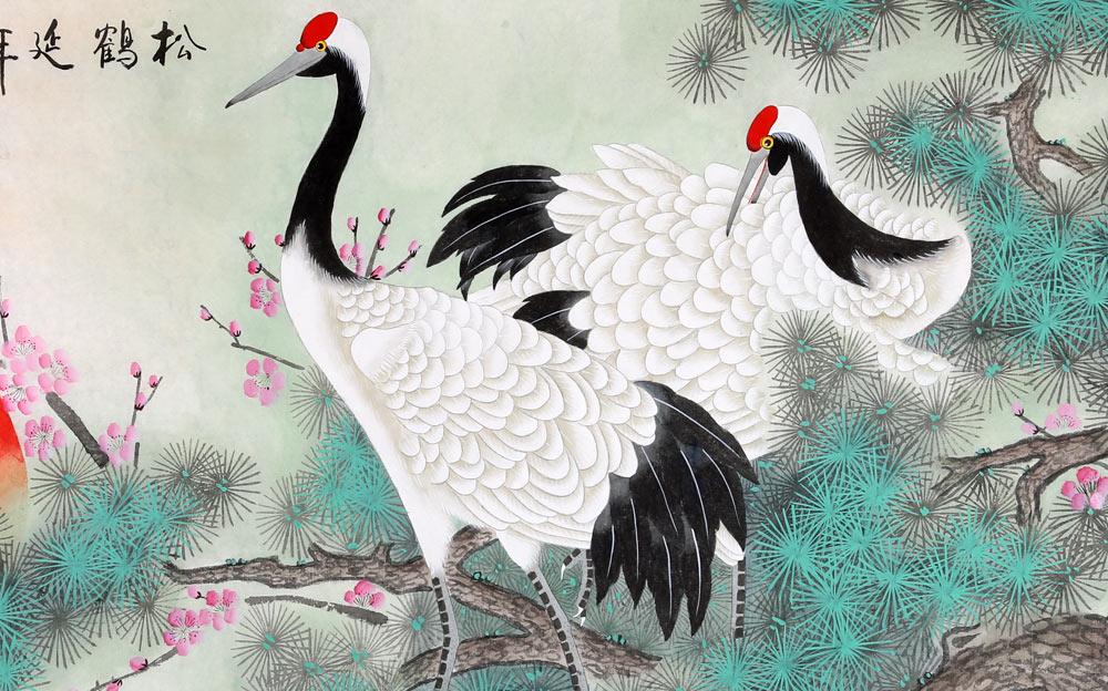 《松鹤延年》,绘一棵千年古松,松枝旺盛,生机勃勃,两只仙鹤站立于松树