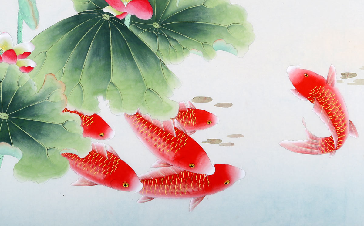 风水字画年年有余 - 九鱼图 - 99字画网