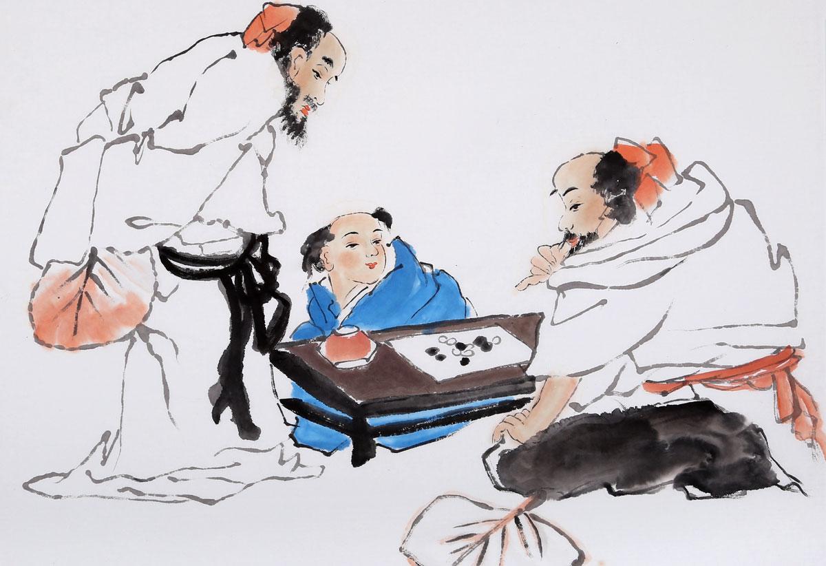 林四尺斗方 弈趣图 -董书林 人物画 人物画图片