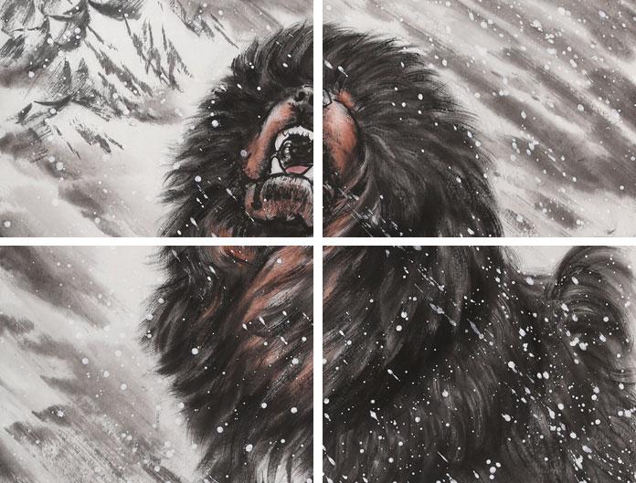 雪中长啸》 - 动物画