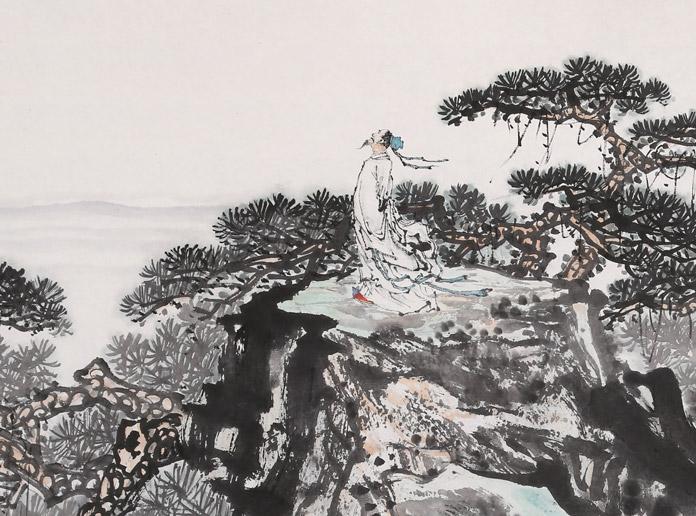 【已售】中国书画家协会理事李碧峰 八尺对开《望岳》
