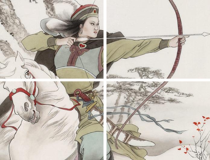 首页 人物画 古代人物  品名:响铃公主狩猎图              尺寸:132