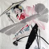 【已售】李立辰四尺斗方《荷塘》 河北著名仕女画家