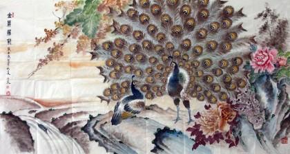 六尺国画孔雀《金屏耀彩》