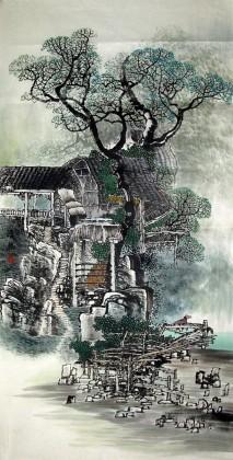 00 黄奇松四尺江南风景画《绿遍山原白满川》 ¥1300.