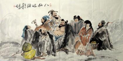 【已售】四尺古代人物画《八仙过海》