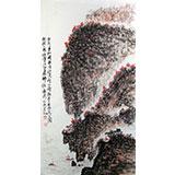 李明成三尺写意国画《南京采石矶》