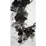 李明成三尺水墨写意《晨风含露》