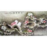 【已售】张洪山六尺《秋塘晓鹭》 著名工笔花鸟画家