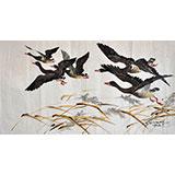 梁恩峰《大雁》朝鲜国画