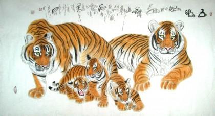 五福动物画儿童画