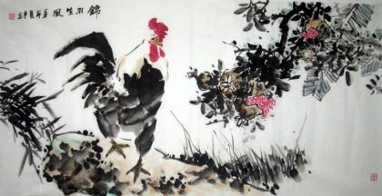 【已售】四尺国画公鸡图《锦羽生风》朦胧诗当代文学课件图片