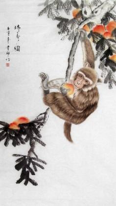 猴子献瑞国画《瑞寿图》