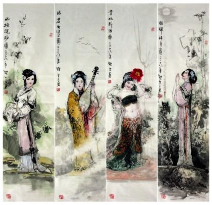名家国画古代人物 四大美女 仕女图图片
