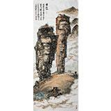 李明成四尺山水画《双石山》