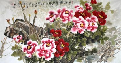 姜康四尺牡丹图《花开富贵》