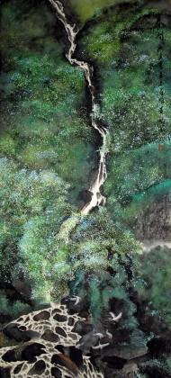 斗方国画风水画 水上人家 写意山水画 99字画网
