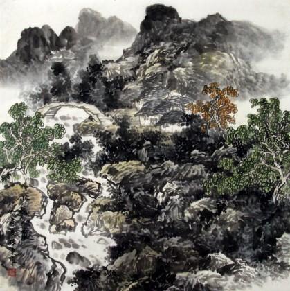 客厅斗方画《小桥人家》 - 写意山水画 - 99字画网