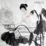 【已售】李立辰仕女画《在水一方》