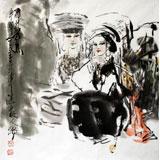 名家王志华四尺斗方写意最新博彩大全《雨打芭蕉》