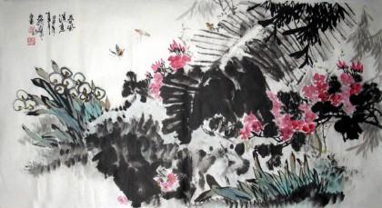 【已售】蒋峰三尺写意花鸟画《春风得意》图片