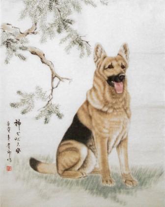 精品国画狗《神犬吠久安》 - 动物画 - 99字画网