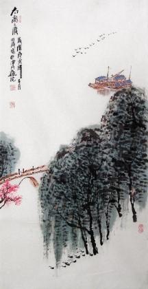 李明成三尺写意山水画《太湖之滨》