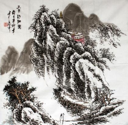 张春奇四尺斗方《三月访友图》徐悲鸿纪念馆艺术中心理事